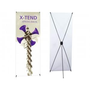 Bannière à ressort avec cadre en X